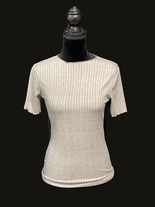 Grey, ribbed short sleeve top