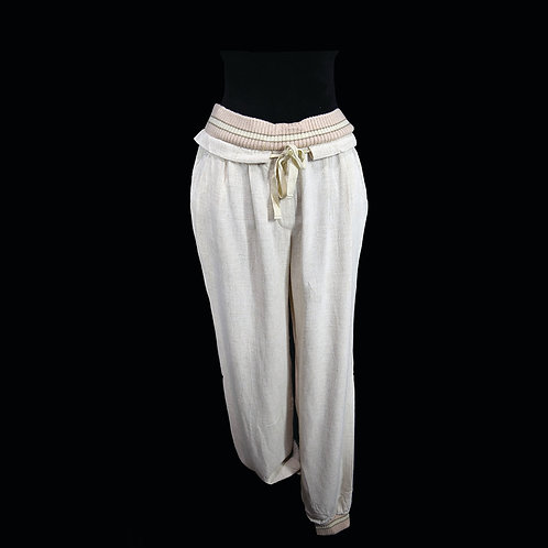 Oatmeal linen loose pants with sporty waist and cuff details