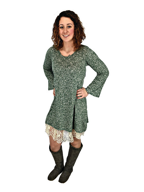Sage sweater knit ribbed dress with lace hem