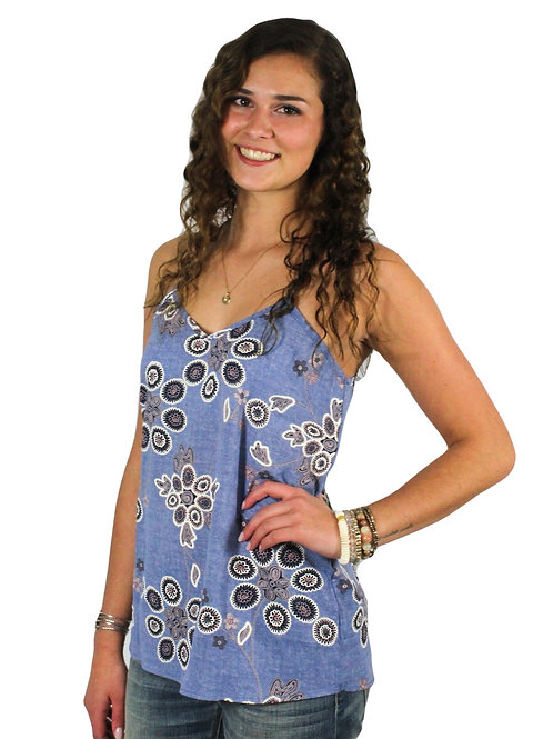 Light blue racer back tank with print