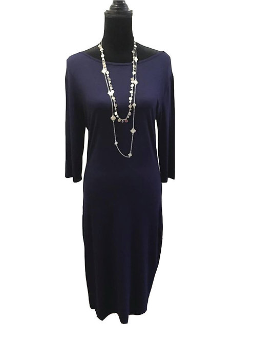 Navy, plus size midi dress with 3/4 length sleeves