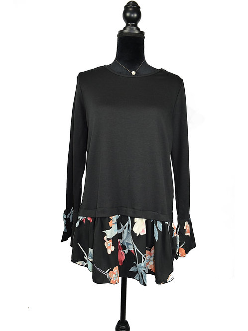 black long sleeve with floral cuffs and hem