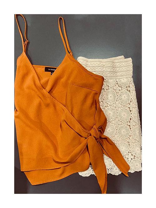 Burnt orange cami and crochet lace shorts