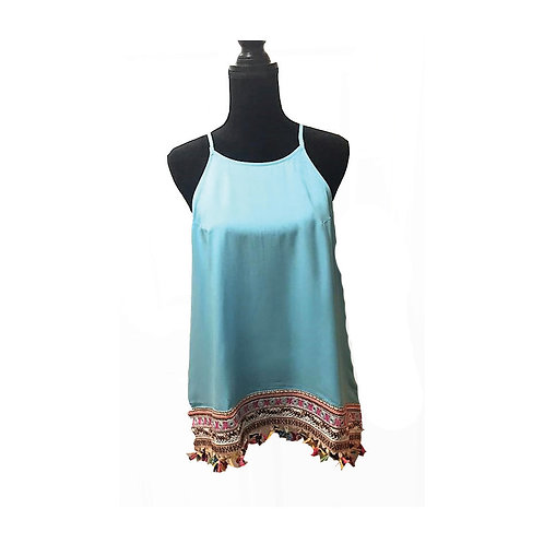 Plus size aqua tank with colorful fringe hem