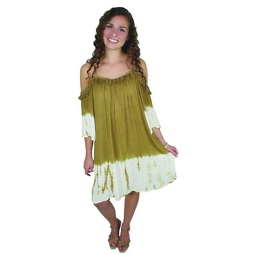 brown and cream tie dye beach cover up/dress