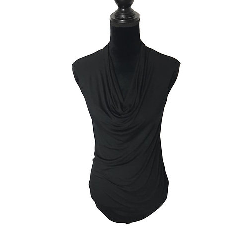 black sleeveless top with cowl neck