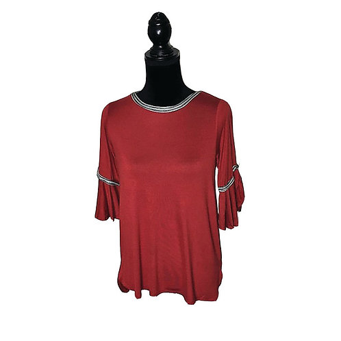 Rust mid sleeve top with black and white trim