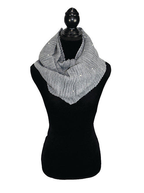 grey infinity scarf with faux pearls