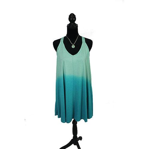 turquoise dip tye tank dress