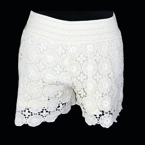 off white crochet shorts