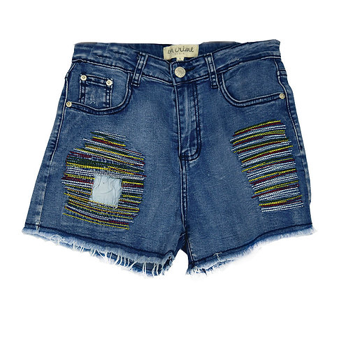 jean shorts with colored stitching