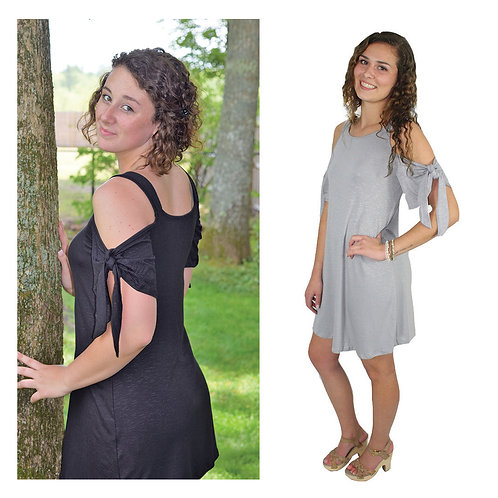 cold shoulder dress with tie detail sleeves in black or grey