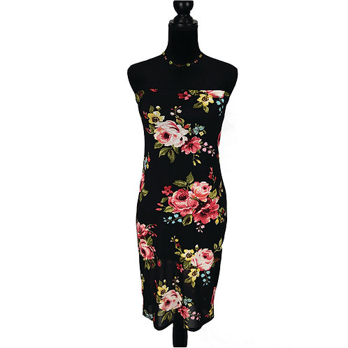 black strapless dress with floral print