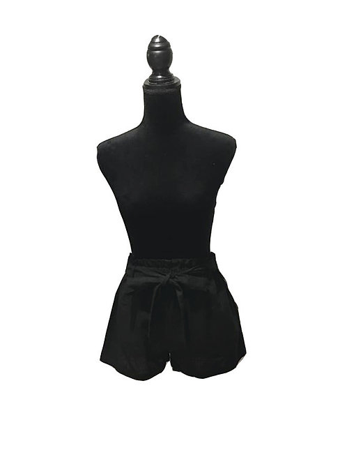black shorts with bow tie waist