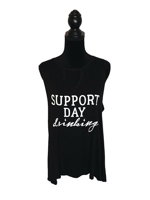 "plus size black tank that says ""support day drinking"""