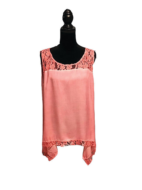 plus size, hot pink, mineral washed tank with lace neckline and hem
