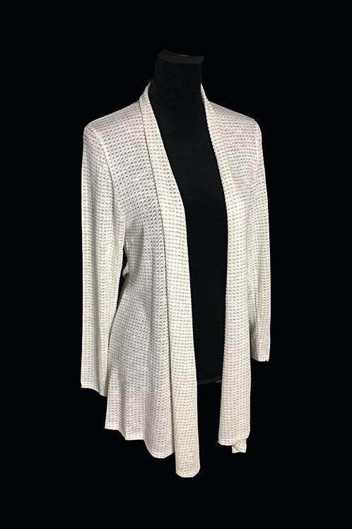 grey and white,  light weight knit, open cardigan