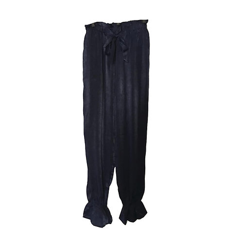 Navy silky joggers with ruffle cuff