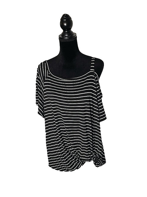 Black & white striped one shoulder top