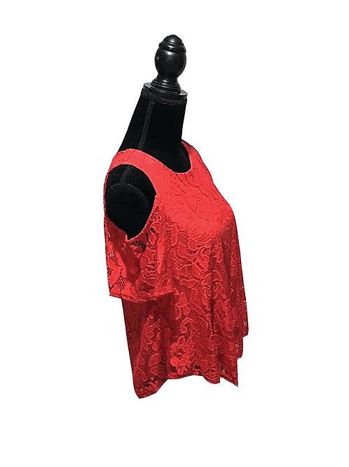 red lace cold shoulder, short sleeve top