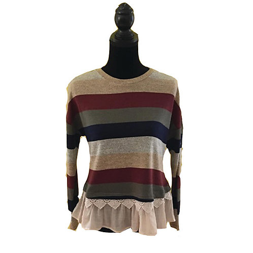 Multi color stripe long sleeve top with ruffle and lace hem