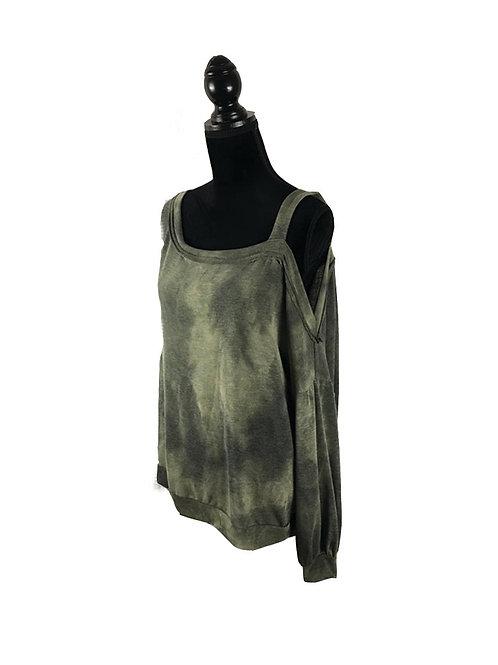 olive, tie dye, one shoulder, long sleeve sweatshirt