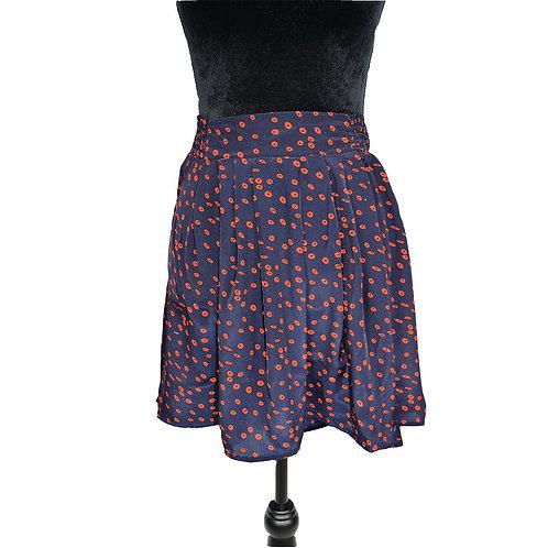 light weight navy skirt w/ reddish print and elastic waistband