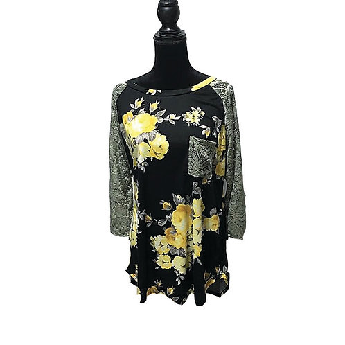 black 3/4 sleeve top with yellow floral print and lace sleeves