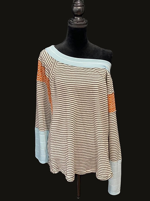 Charcoal and white striped, one shoulder top with print accents