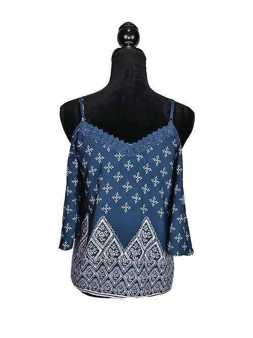 navy print open shoulder top with crochet lace trim