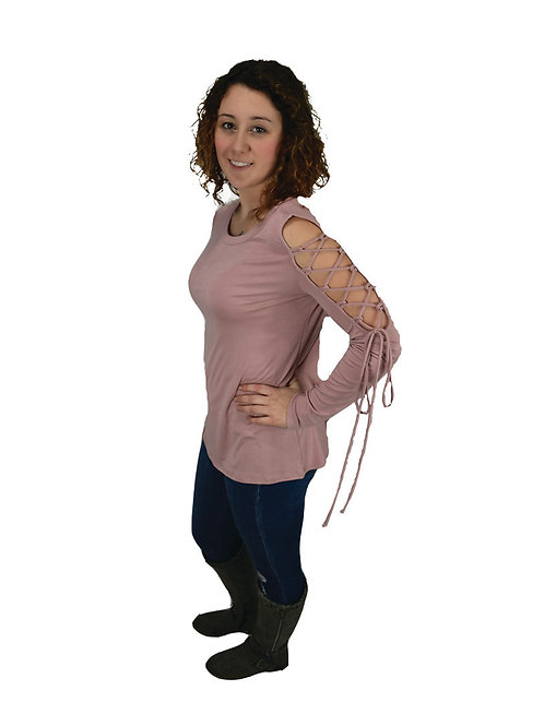 blush colored long sleeve top with one arm lace up