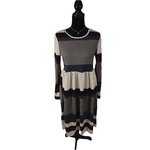 Burgundy multi striped light weight sweater dress