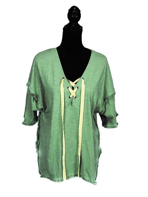 Sage 1/2 sleeve frayed hem with lace up
