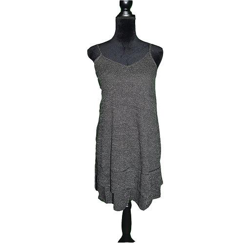 charcoal 2 tone texture knit tank dress