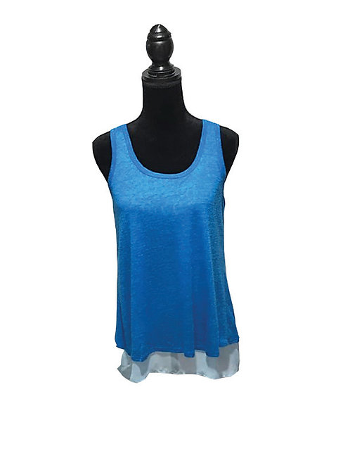 bright blue tank with tulip back and sheer light blue underlay