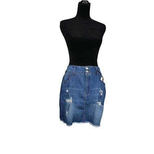 curvy size distressed denim mini skirt