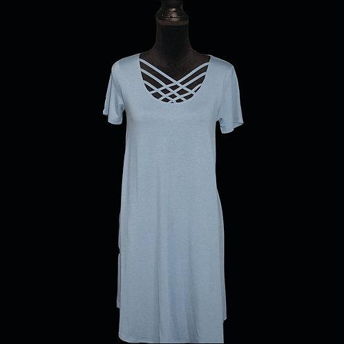 titanium short sleeve triple lattice dress with pockets