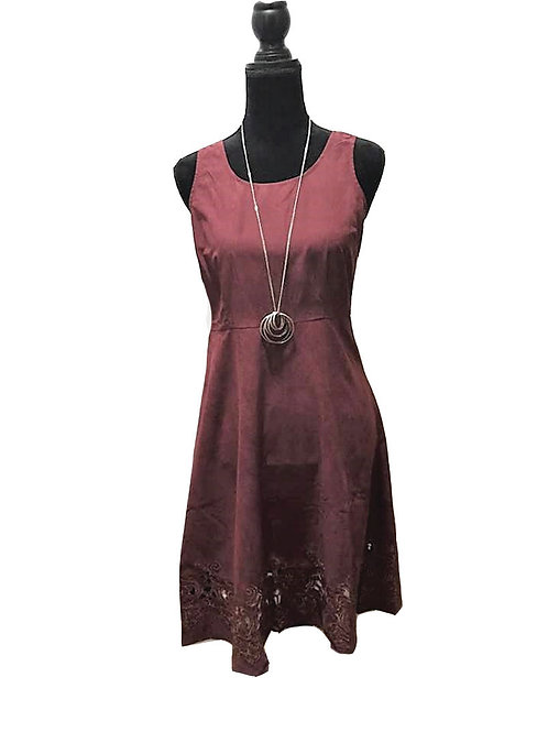 Maroon fit and flare dress with scalloped edge hem