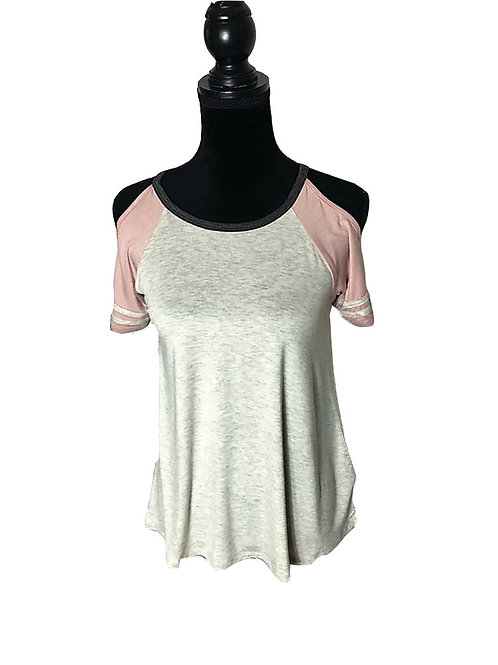 grey open shoulder baseball tee with pink sleeves & white stripes