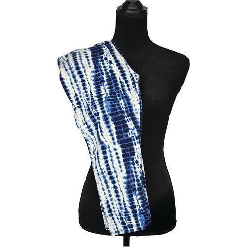 blue/white tie dyed, high waisted capri leggings