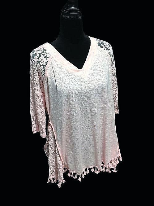 Light pink mid sleeve, burnout top with lace sleeves and fringe hem