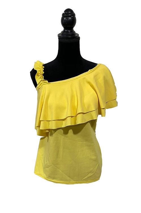 junior plus yellow one shoulder top