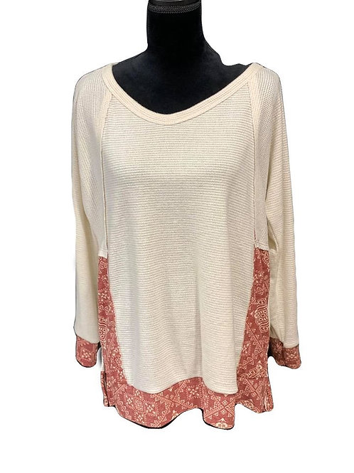 Taupe long sleeve top with burgundy print accents