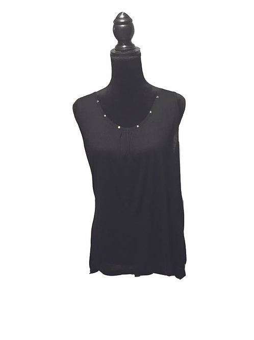 plus size black sleeveless top with braided opening in back