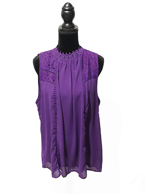 Plum, plus size, high neck, sleeveless top with lace inset details