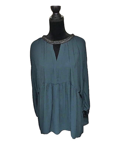 Plus size forest colored cinched tunic top
