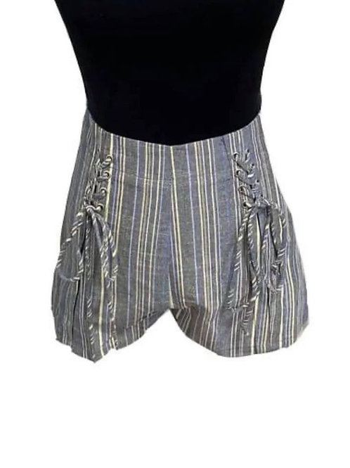 grey striped shorts with lace up detail