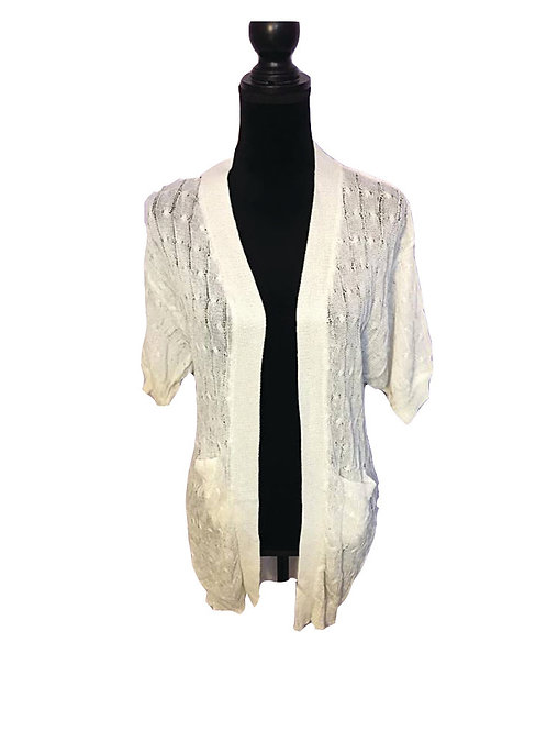 white knit, mid sleeve cardigan with pockets
