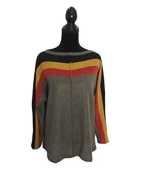 Tan long sleeve top with rust, mustard, and black stripes