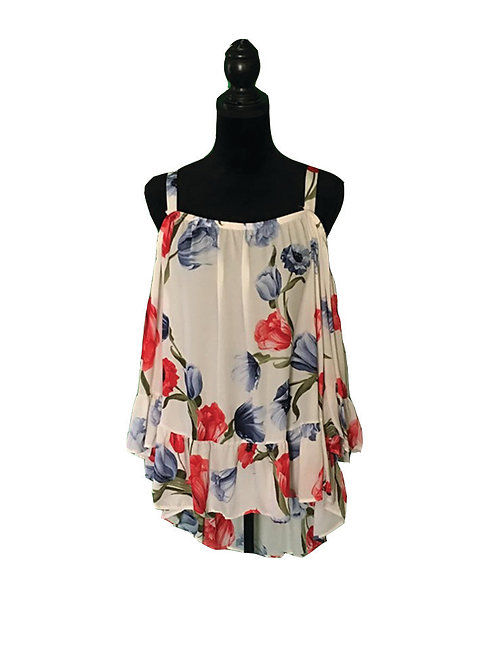 Plus white open shoulder top with floral print & 3/4 ruffle sleeves